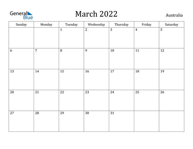 March 2022 Calendar - Australia inside 2022 Day To Day Calendars For Men