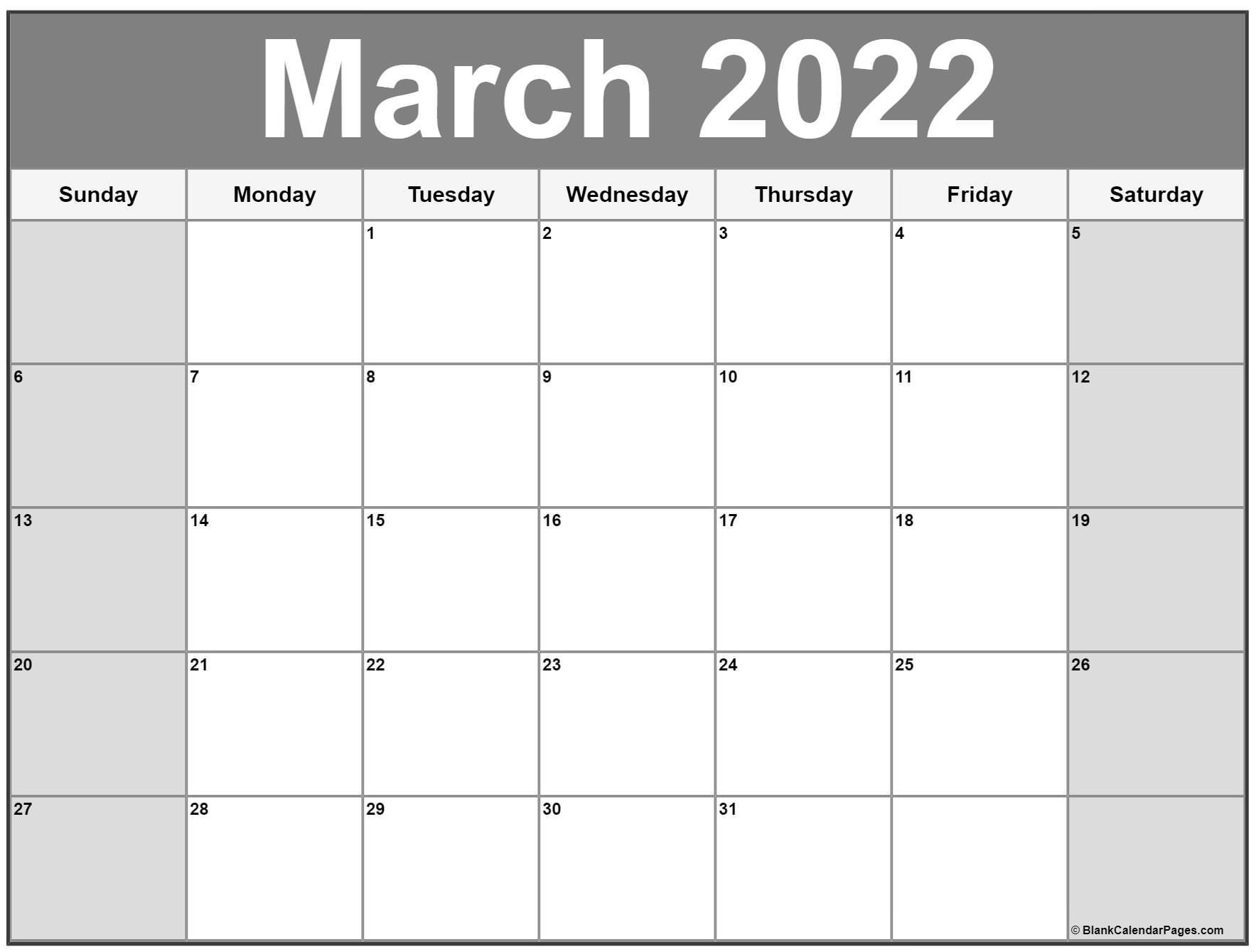 March 2022 Calendar | Free Printable Calendar Templates inside Everyday Is A Holiday Calendar 2022