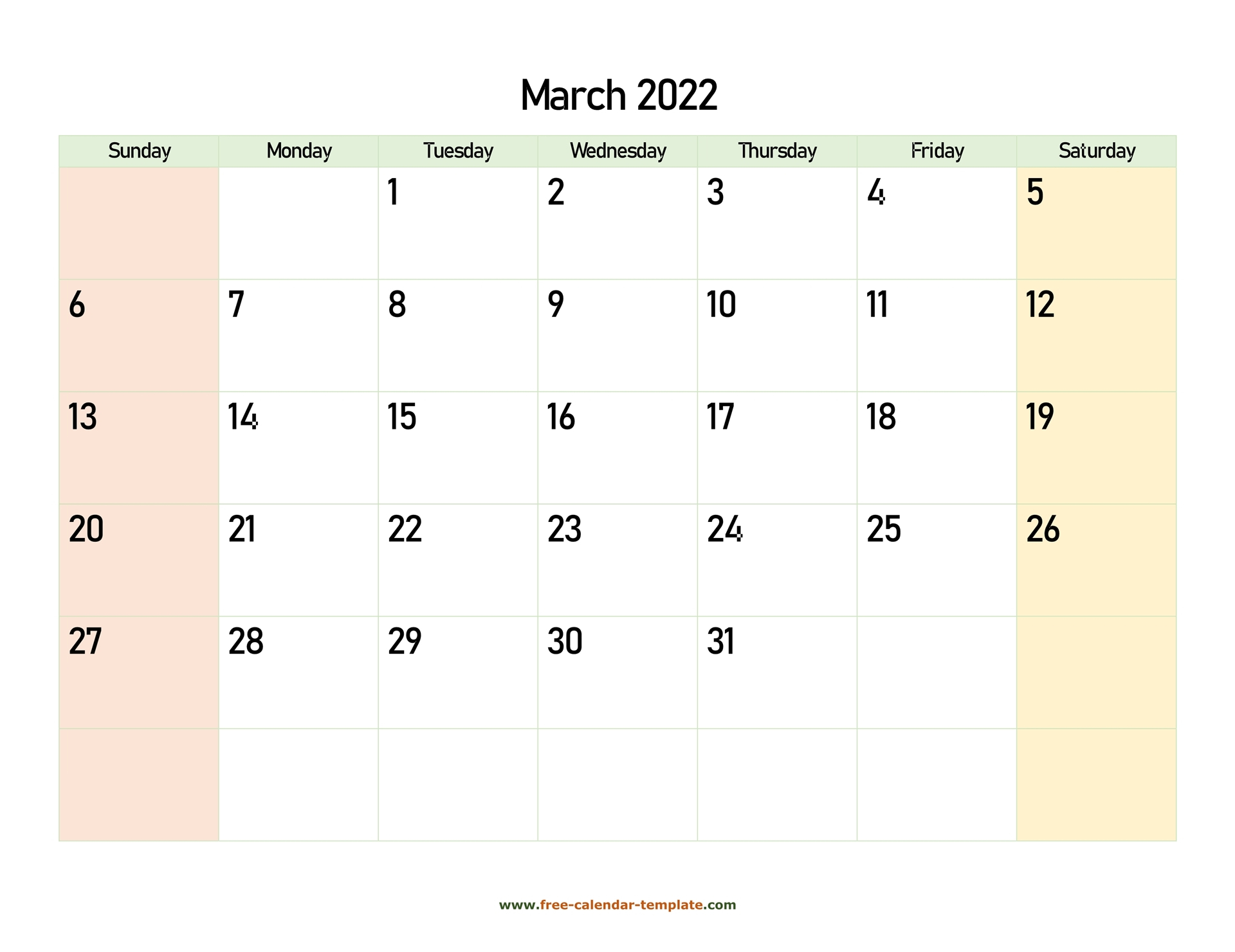 March 2022 Calendar Printable With Coloring On Weekend for 2022 Day To Day Calendars For Men