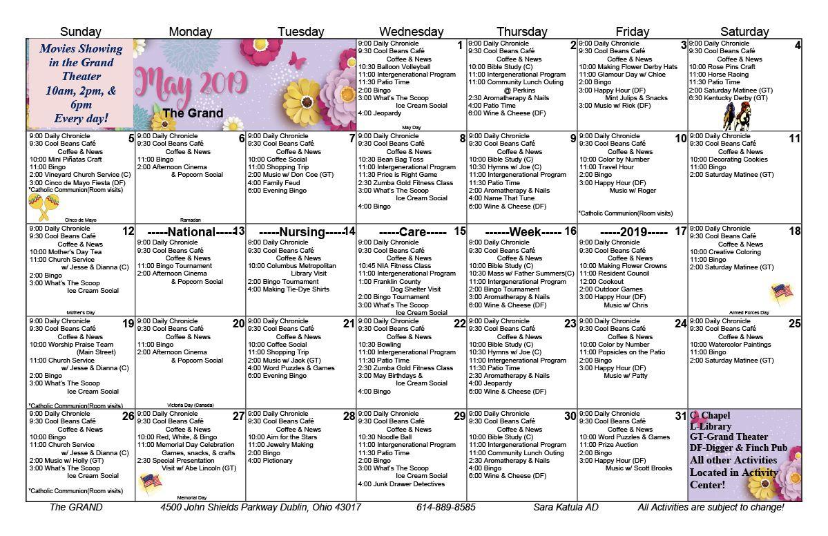 May 2019 Skilled Nursing Activity Calendar | Senior Living regarding Assisted Living Facility Activity Calendar