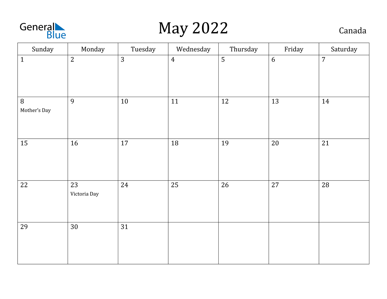 May 2022 Calendar - Canada within Everyday Is A Holiday Calendar 2022