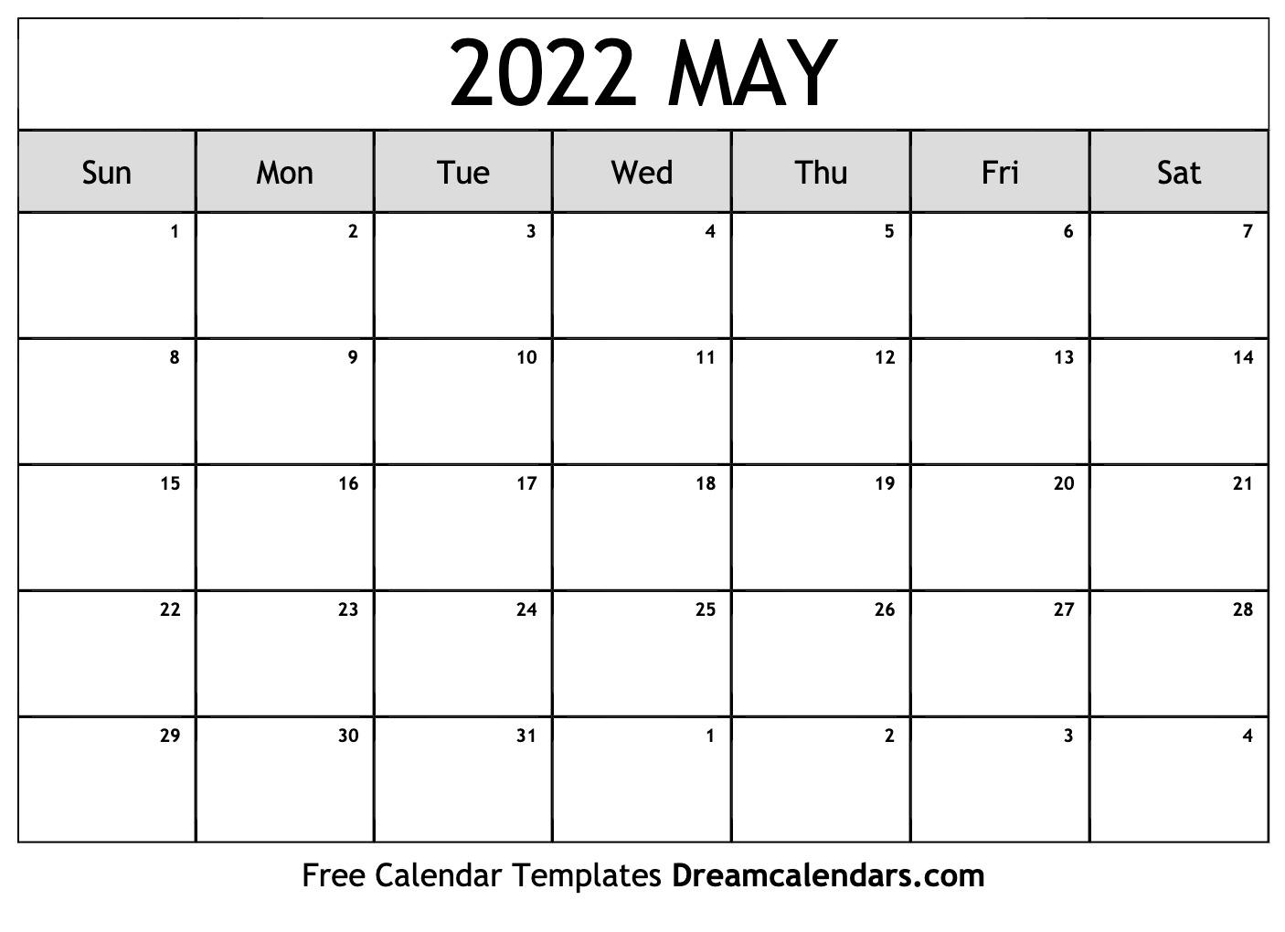 May 2022 Calendar | Free Blank Printable Templates for 2022 Sunrise And Sunset Calendar