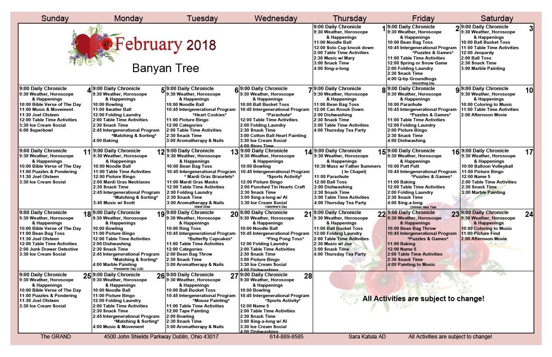 Memory Care Activity Calendar The Grand Of Dublin | Memory in Assisted Living Facility Activity Calendar