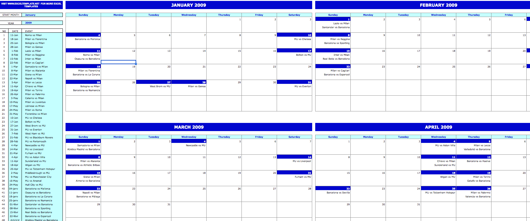 Monthly Event Calendar » Exceltemplate with regard to Turn Excel Spreadsheet Into Calendar