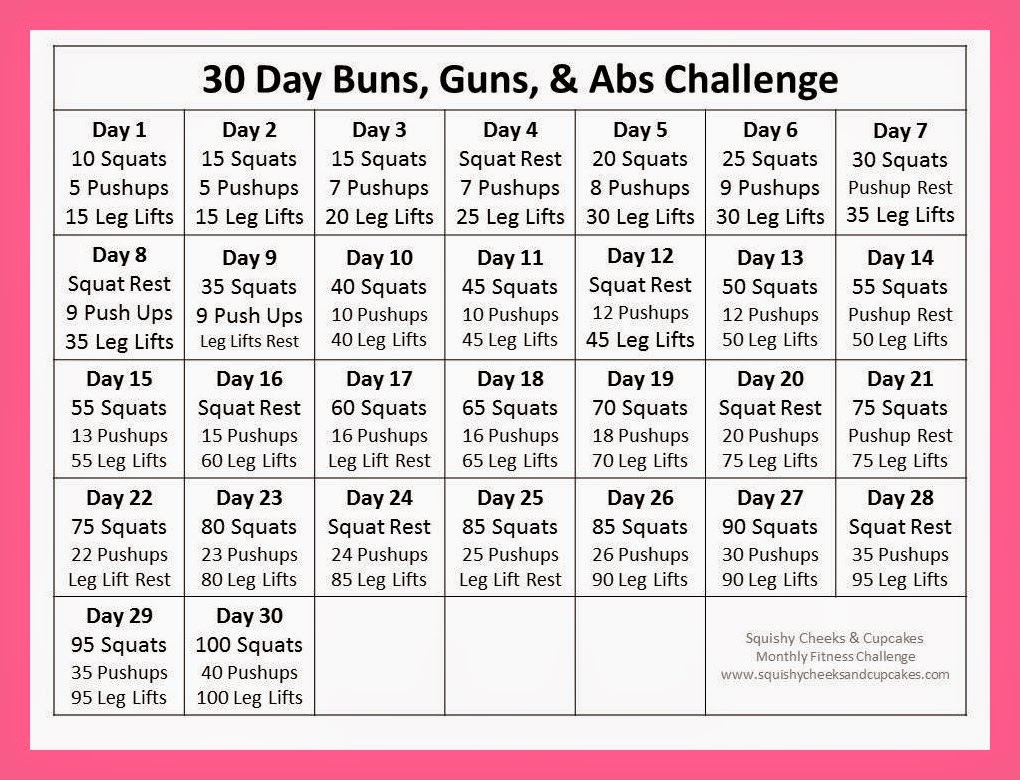 Monthly Fitness Challenge - April - Squishy Cheeks & Cupcakes within 30 Day Leg Challenge Printable Pdf