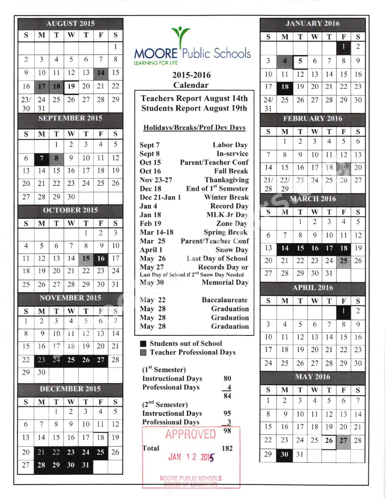 Moore School Calendar - Time Table regarding Printable School Calendar For Leeds City School 2022 2023