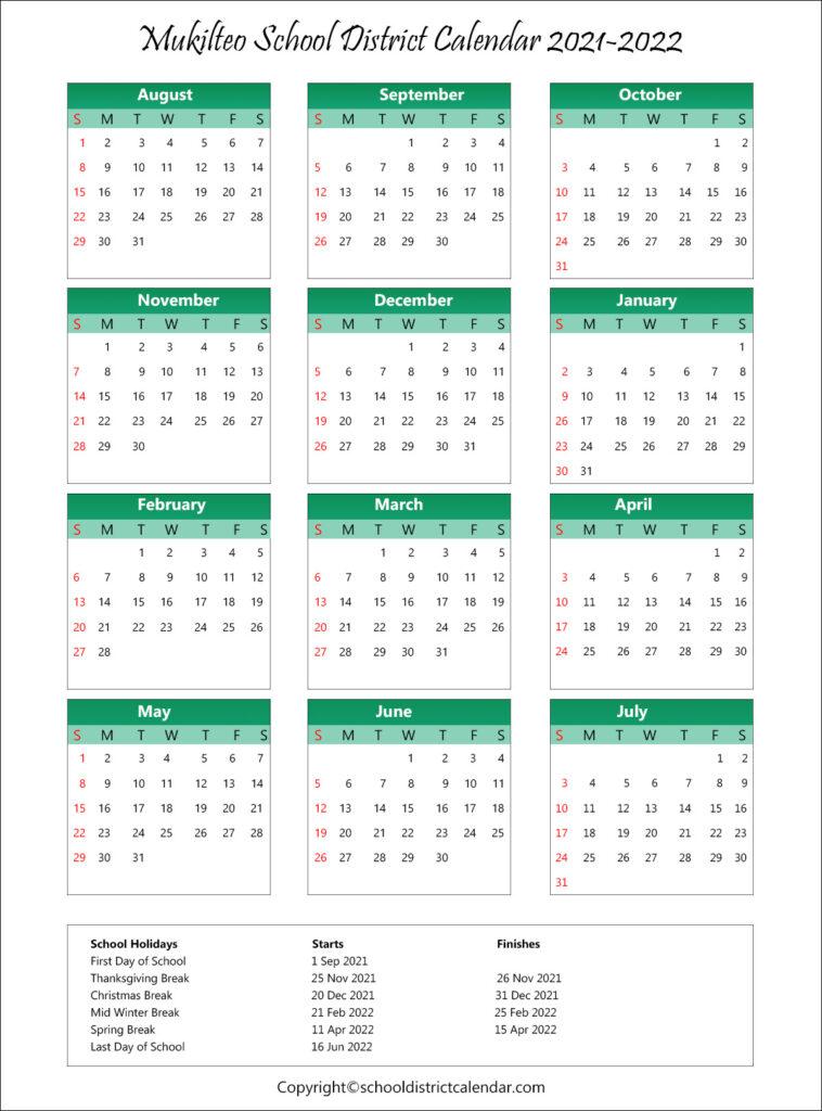 Mukilteo School District Calendar Holidays 2021-2022 throughout Fresno Unified School Calendar 2022