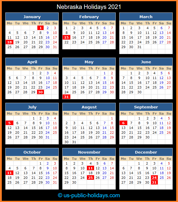 Nebraska Holidays 2021 for U Of Mn Calendar 2022