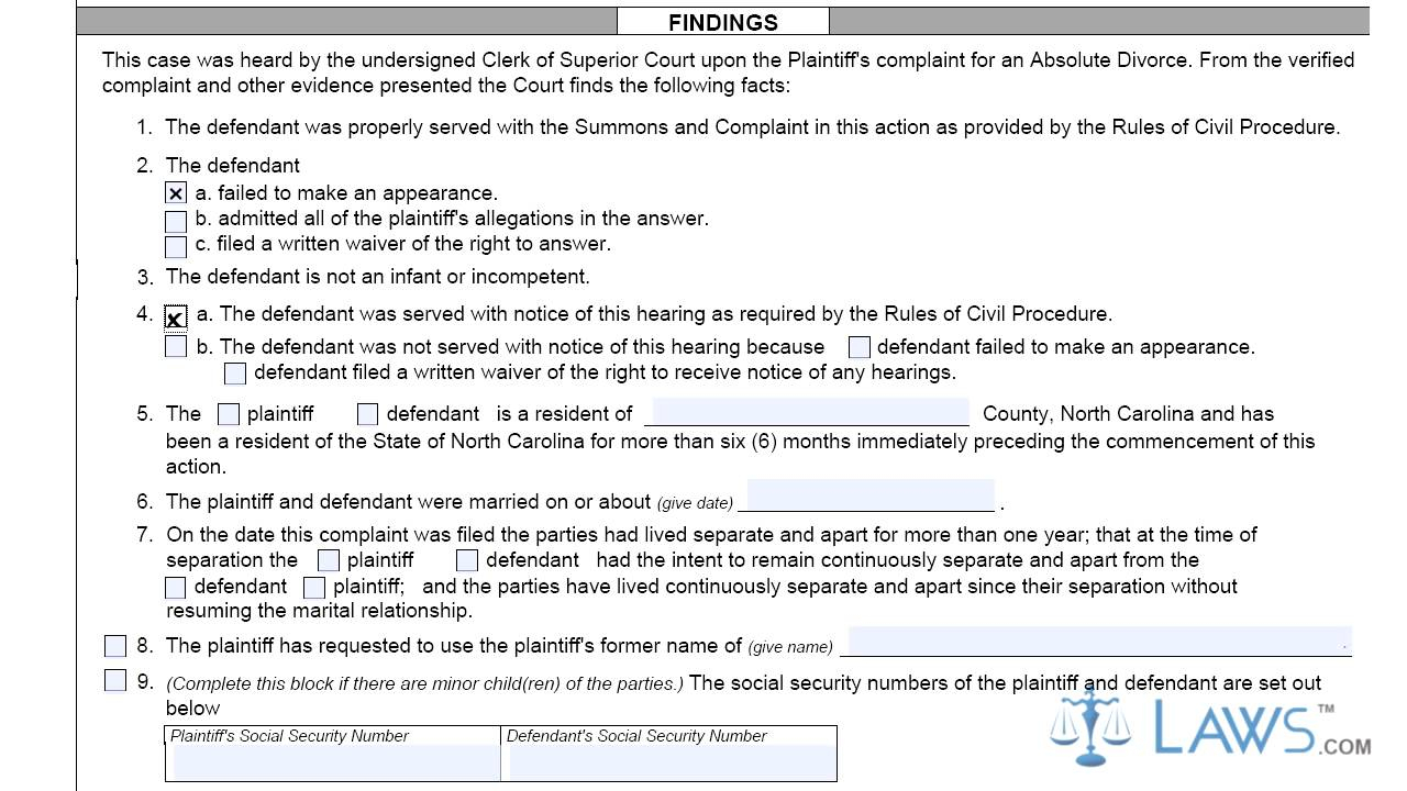 North Carolina Judgment For Absolute Divorce Before The with Defendent Query For Nc Court Date