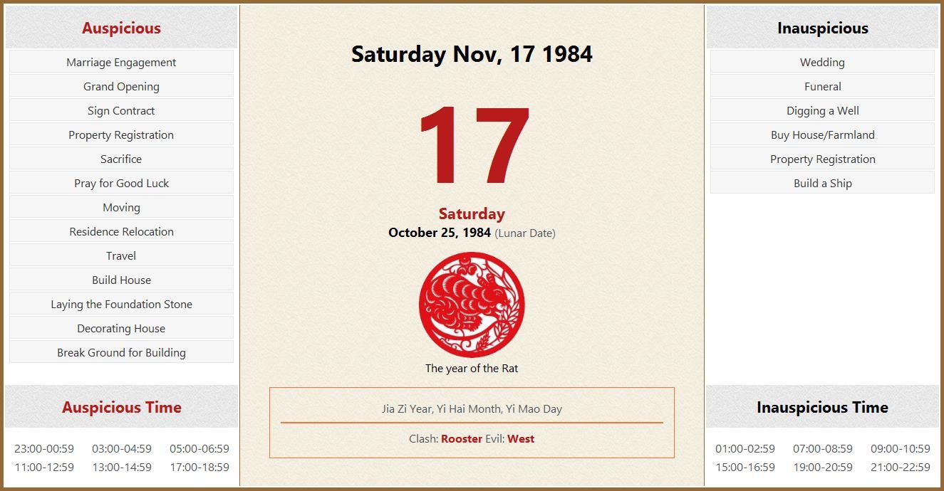 November 17, 1984 Almanac Calendar: Auspicious regarding Turning Stone October Calendar 2022