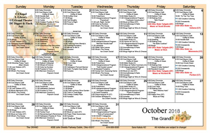 October 2018 Skilled Nursing Activity Calendar | October with Assisted Living Facility Activity Calendar