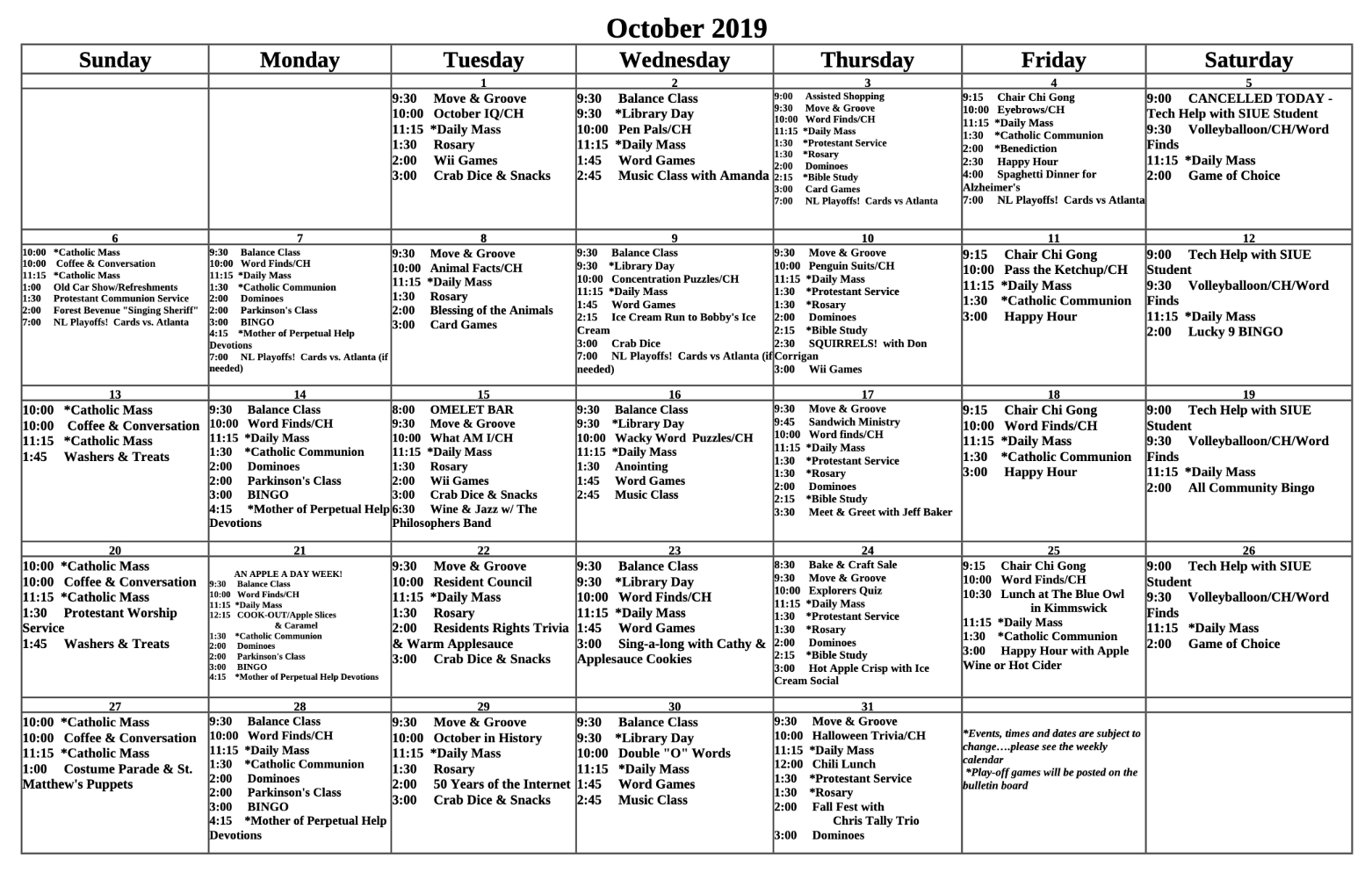 October 2019 St. Francis Center For Assisted Living with Assisted Living Facility Activity Calendar