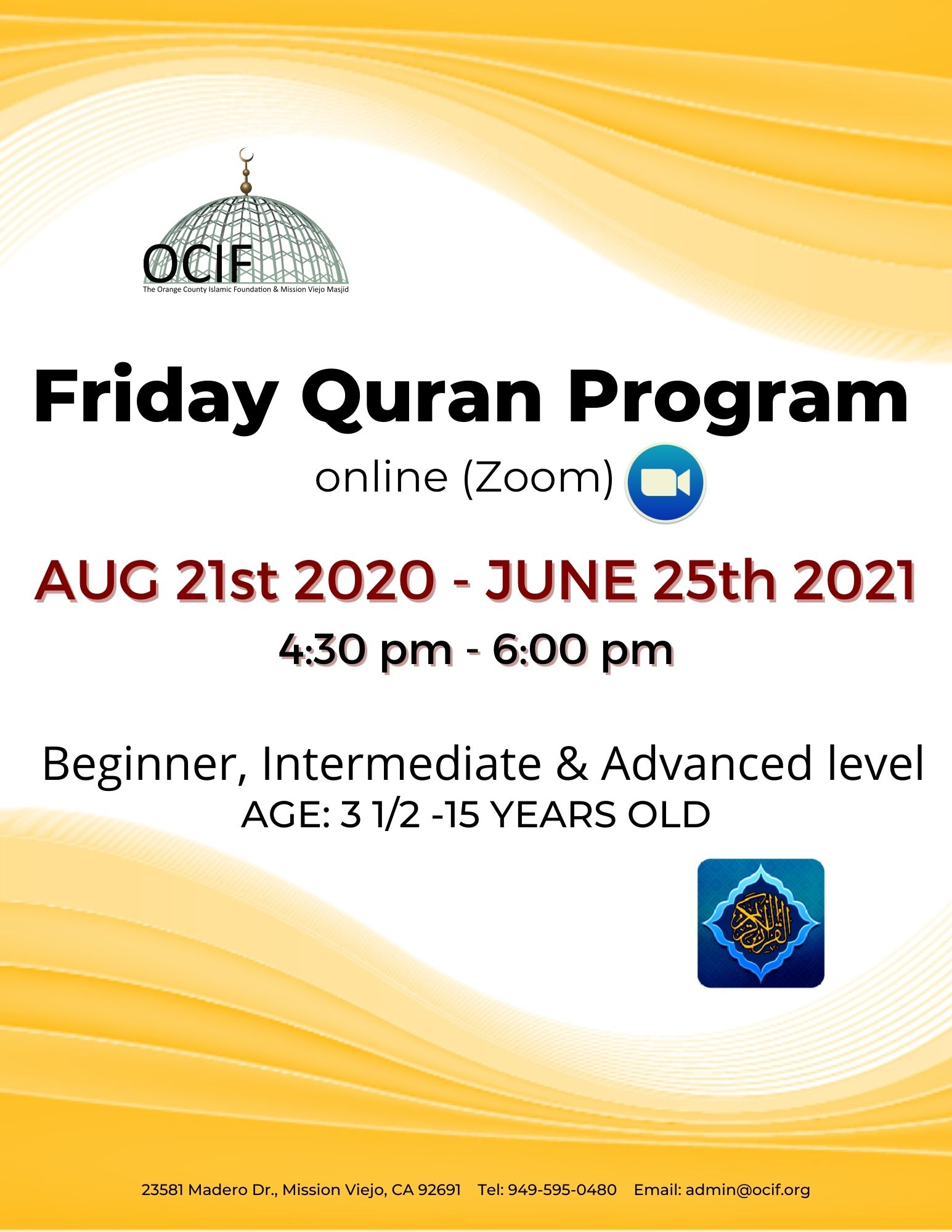 Orange County Islamic Foundation pertaining to Orange County Convention Center Schedule 2022