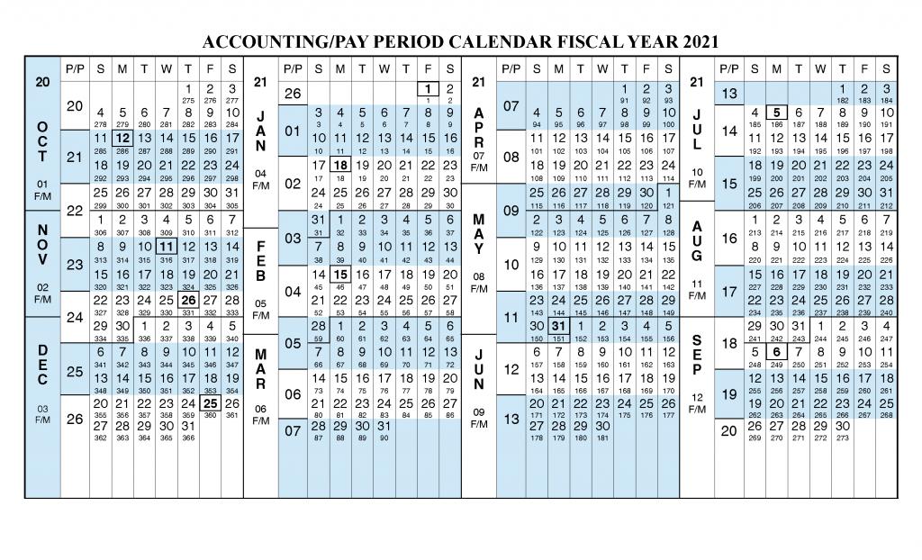 Payroll Calendar 2021 Fiscal Year Calendar [ Oct 2020 throughout Gs Pay Calendar 2022