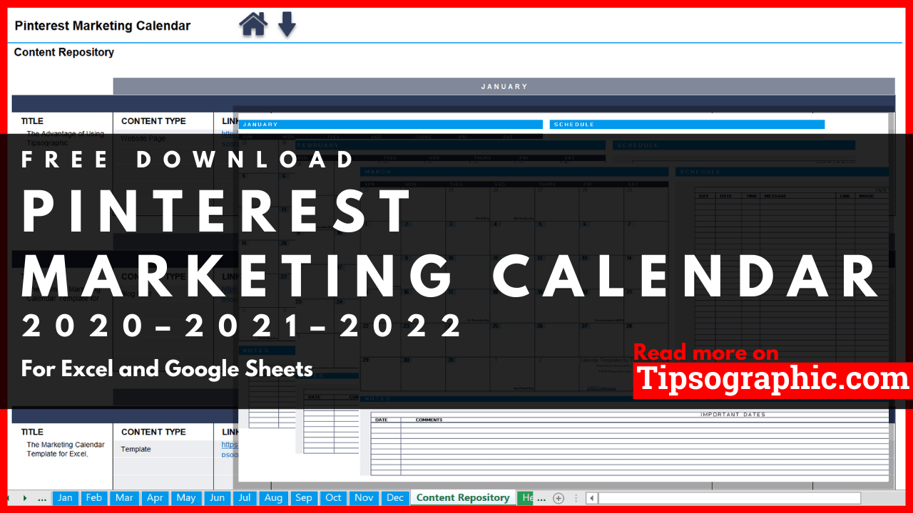 Pinterest Marketing Calendar Template For Excel, Free intended for Retail Calendar 2022 4-5-4 Explained