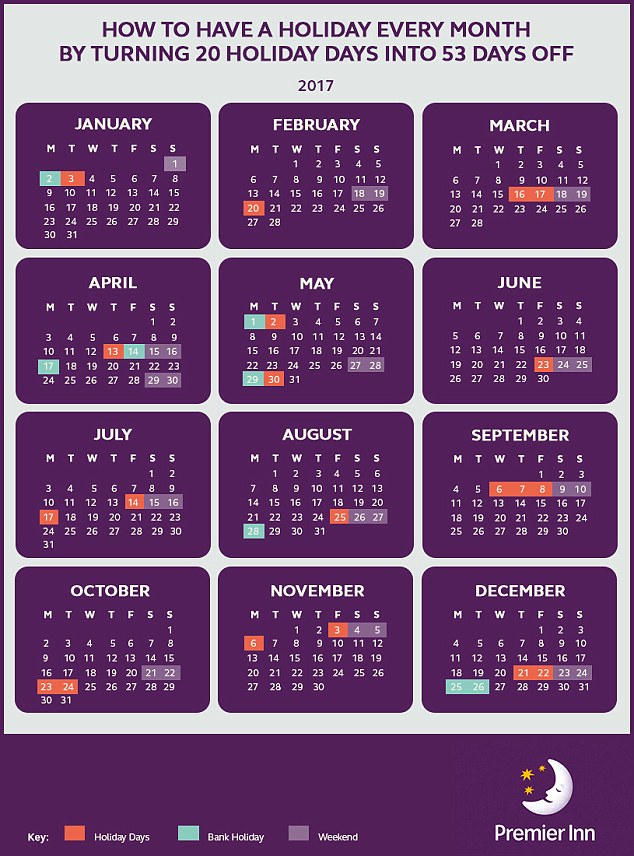 Premier Inn Shows How You Can Turn 20 Days Holiday Into 53 within Every Day Holiday Calendar
