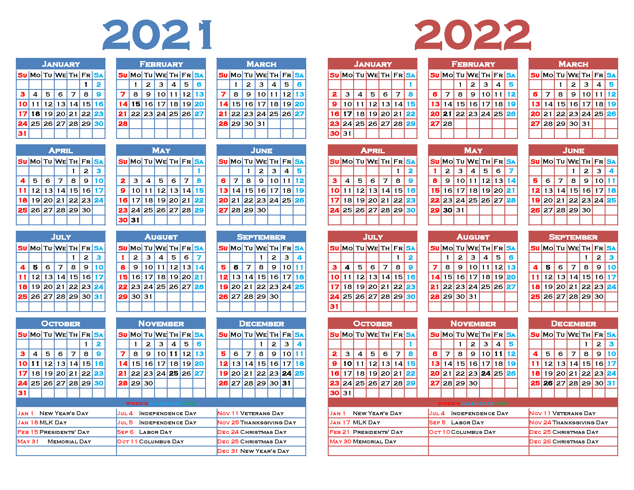 Printable 2021 And 2022 Calendar With Holidays (12 Templates) in Alternate Side 2022 Calendar