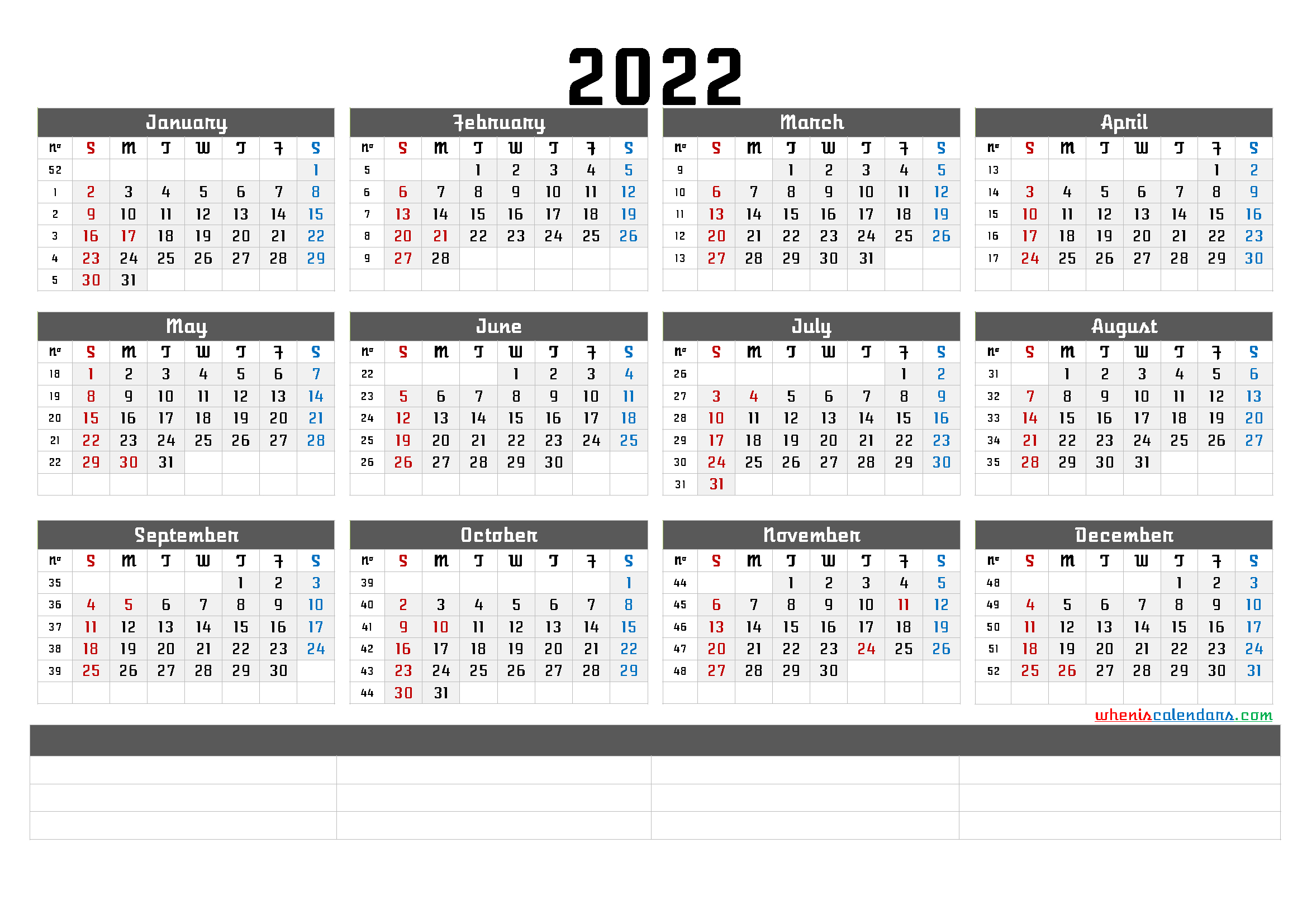 Printable 2022 Yearly Calendar - Calendraex for Walmart Fiscal Calendar For 2022