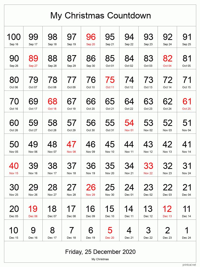 Printable Countdown Calendar pertaining to 90 Day Calendar 2022