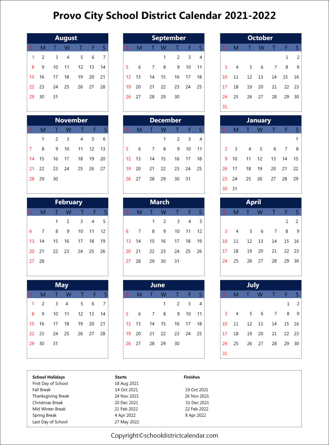 Provo City School District Holidays Archives | School throughout Fresno Unified School Calendar 2022