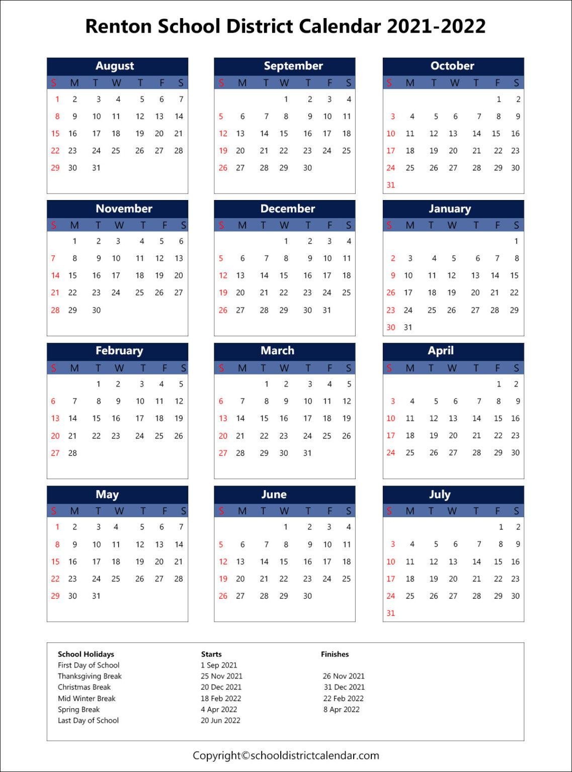 Renton School District Calendar Holidays 2021-2022 pertaining to Fresno Unified School Calendar 2022