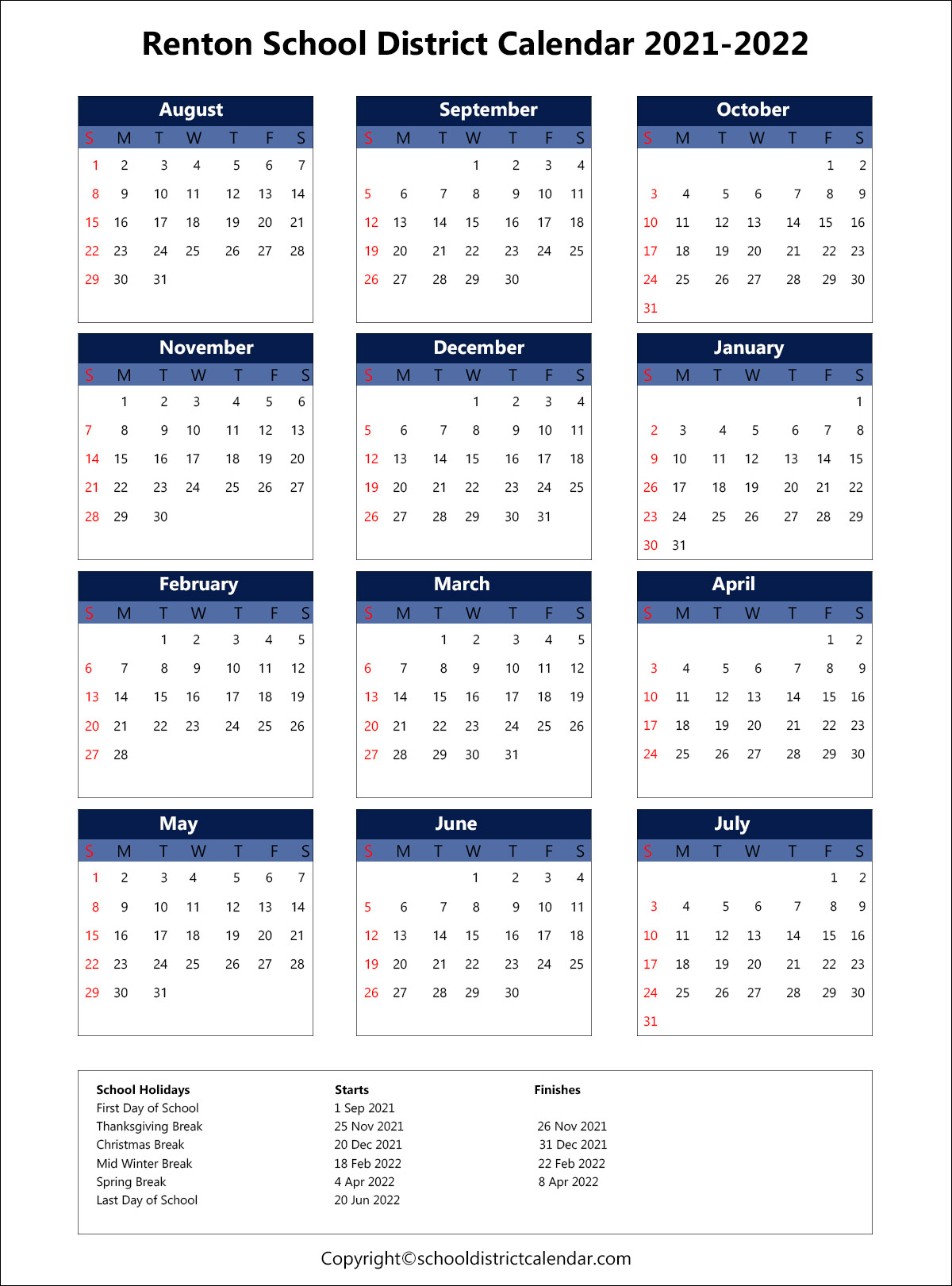 Renton School District Calendar Holidays 2021-2022 regarding Fresno Unified School Calendar 2022
