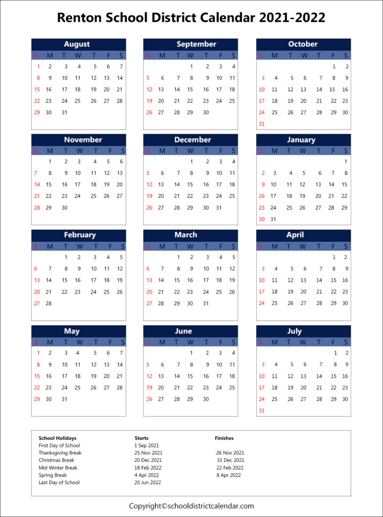 Renton School District Calendar Holidays 2021-2022 with Fresno Unified School Calendar 2022