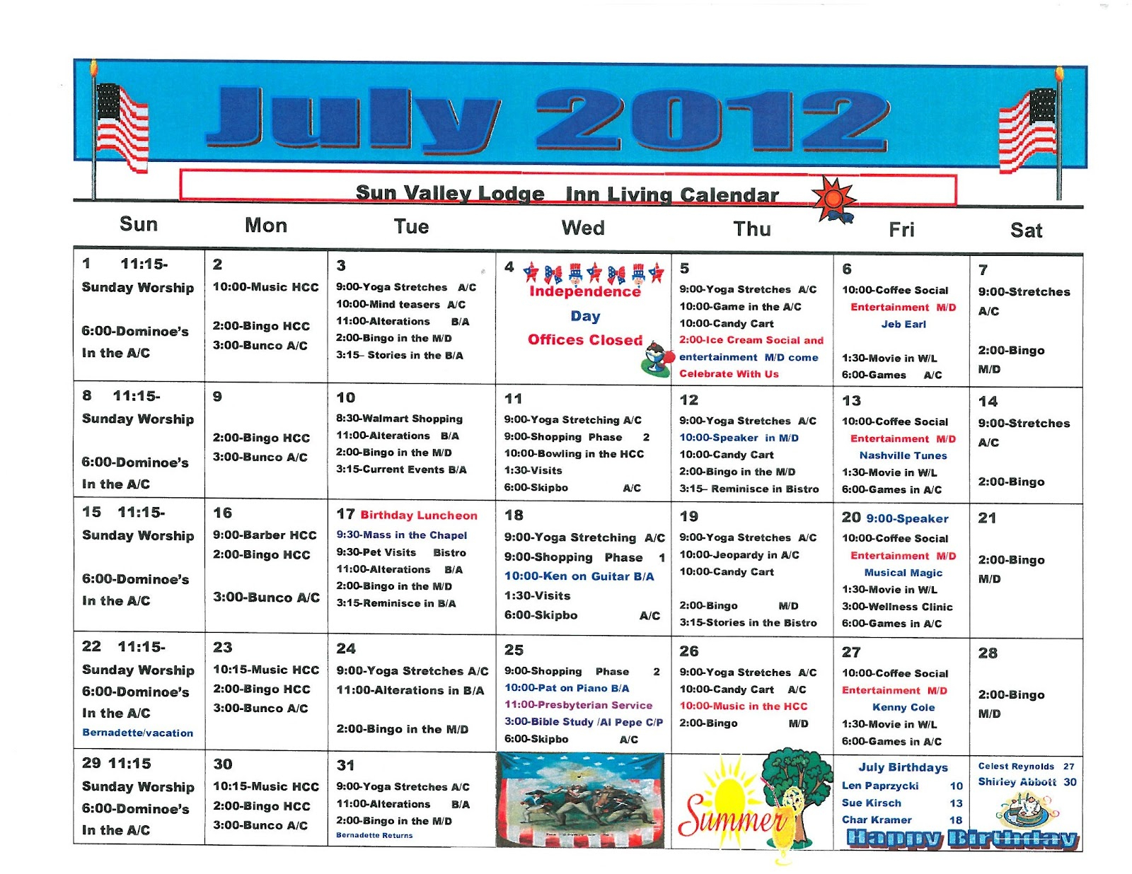 Retirement & Life Care Journal: July 2012 Assisted Living inside Assisted Living Facility Activity Calendar