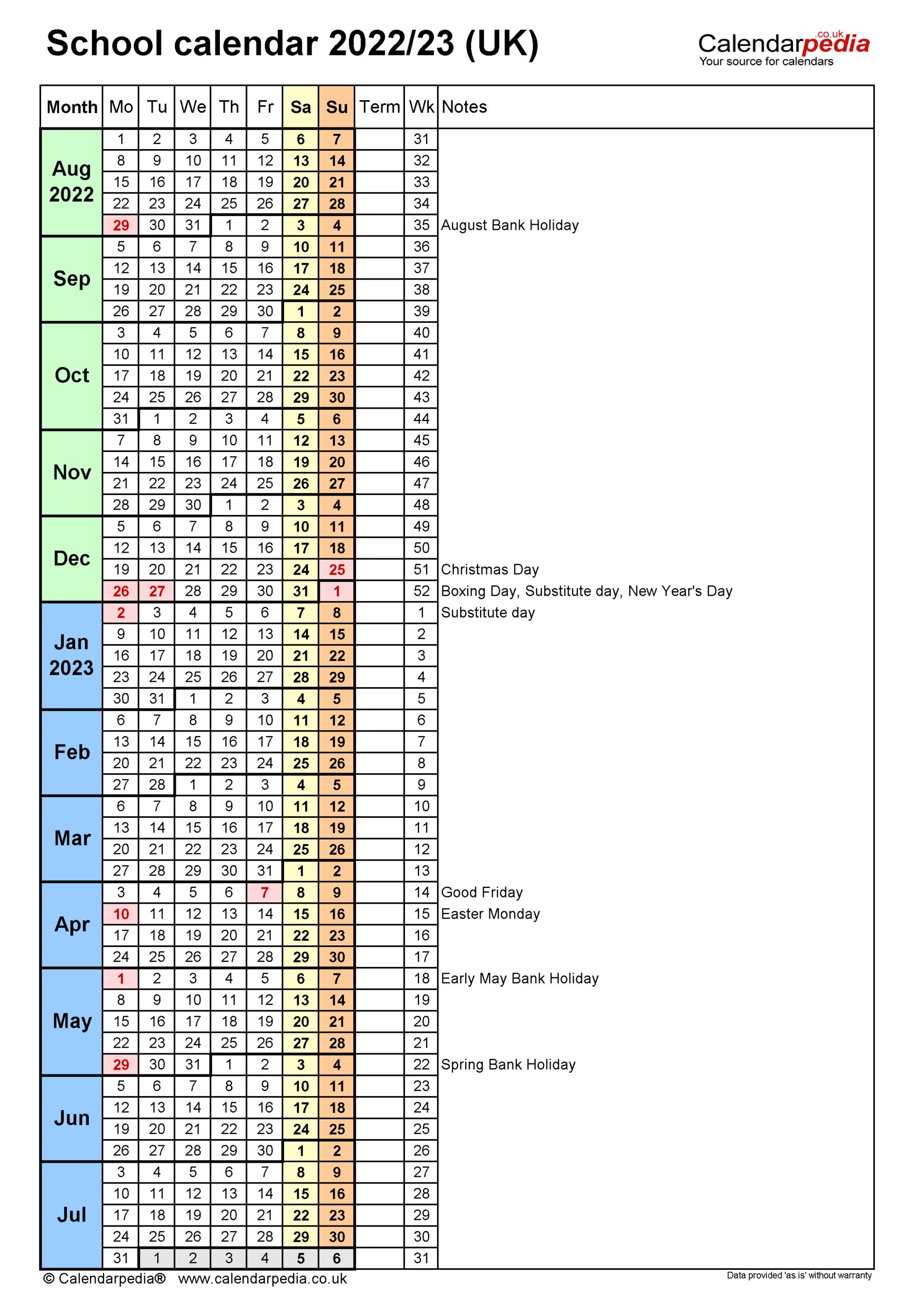 School Calendars 2022/2023 As Free Printable Pdf Templates regarding Aiken County 2022 2023 School Calendar