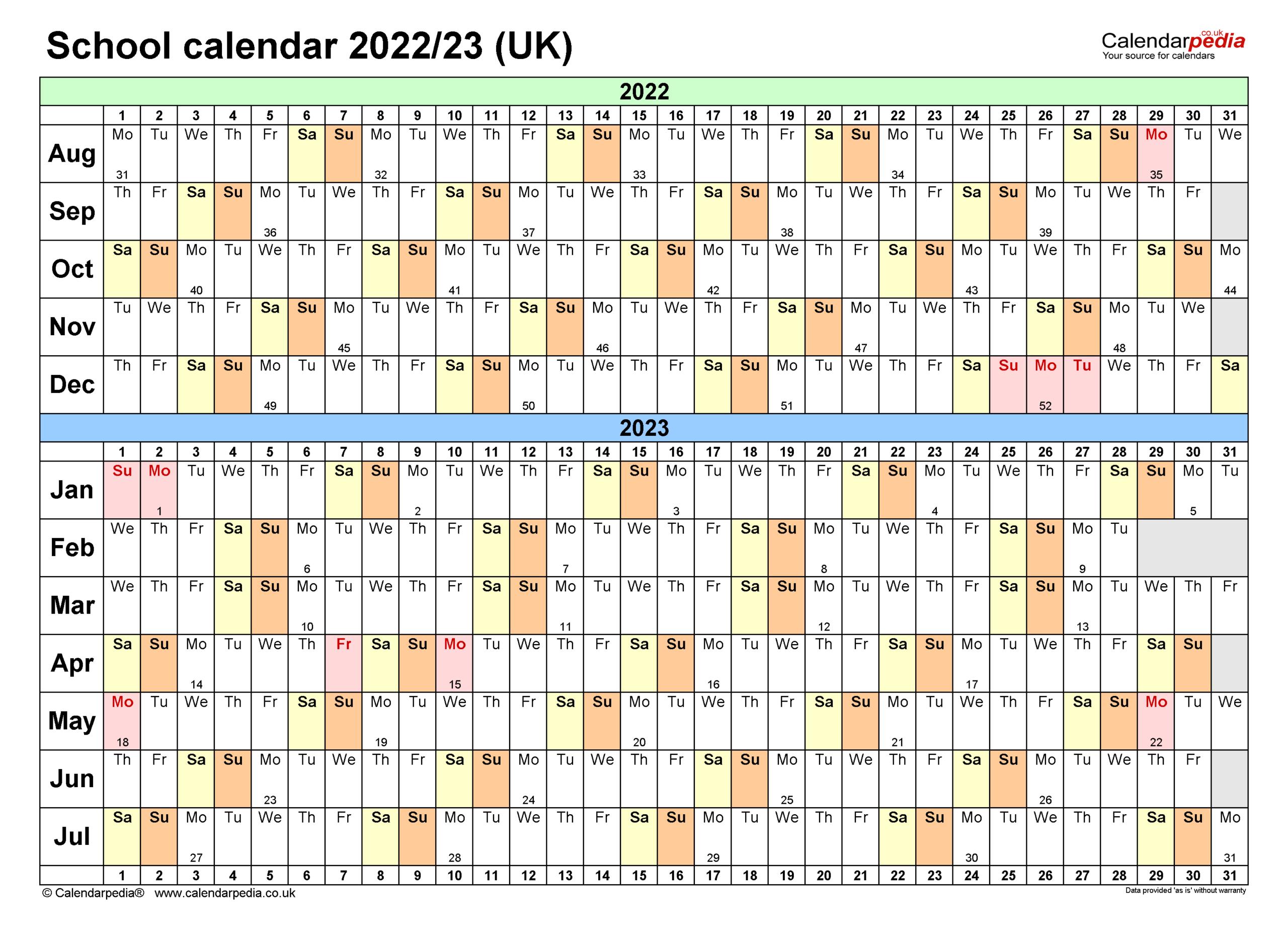School Calendars 2022/2023 As Free Printable Word Templates for 2022 2023 School Calendar North Penn