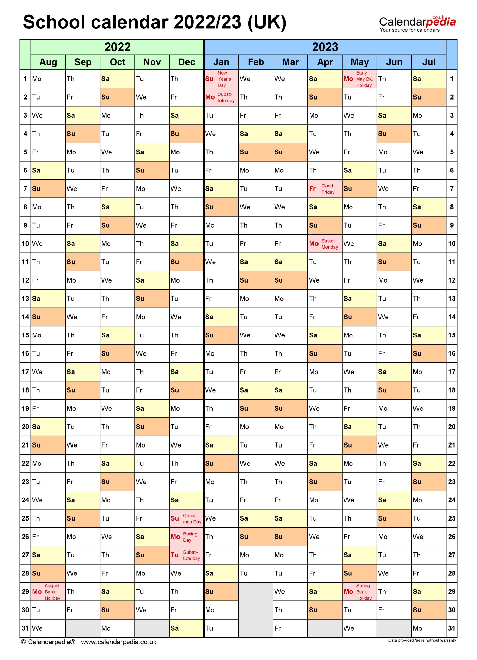 School Calendars 2022/2023 As Free Printable Word Templates inside Aiken County 2022 2023 School Calendar
