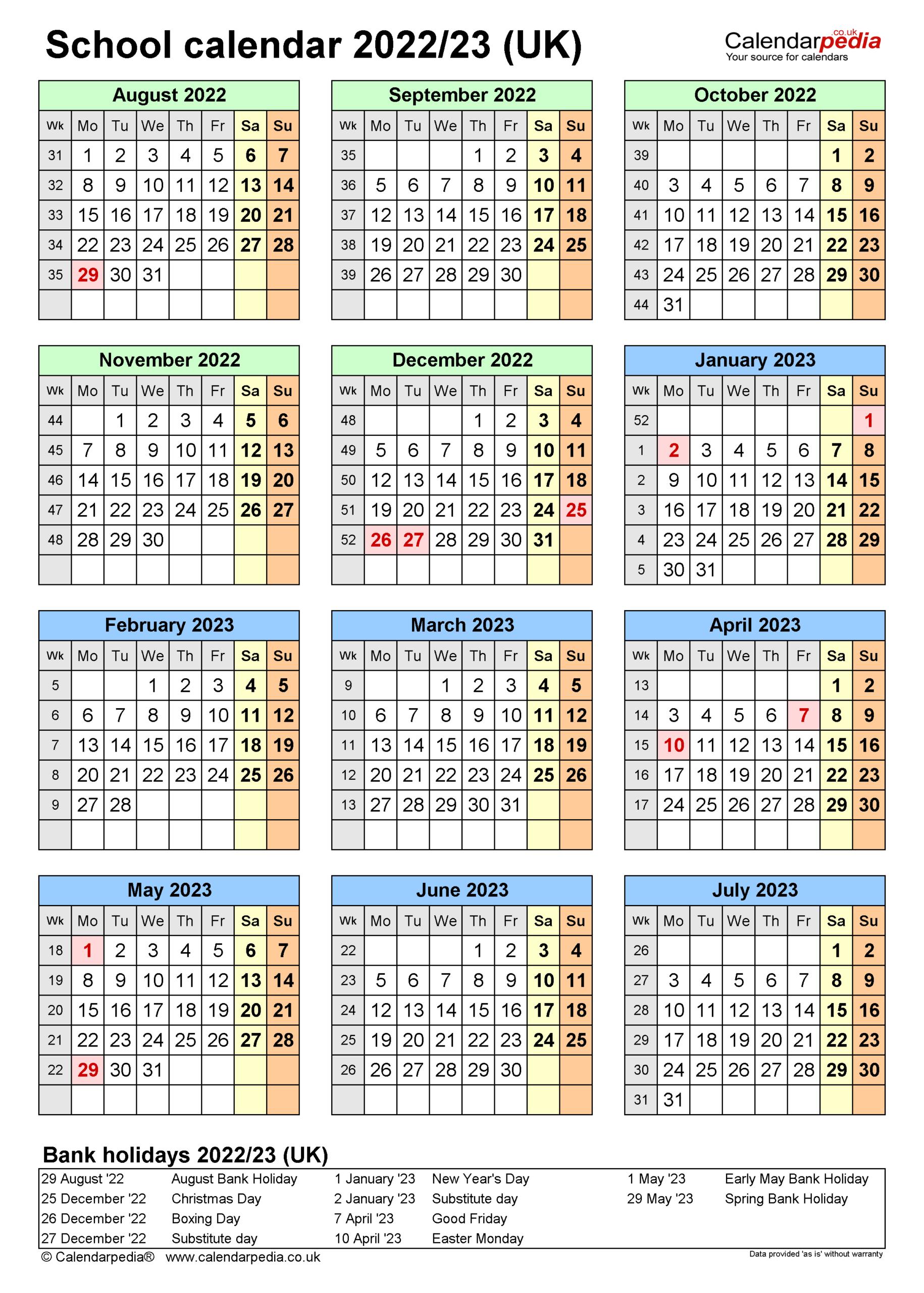 School Calendars 2022/2023 As Free Printable Word Templates with Aiken County 2022 2023 School Calendar