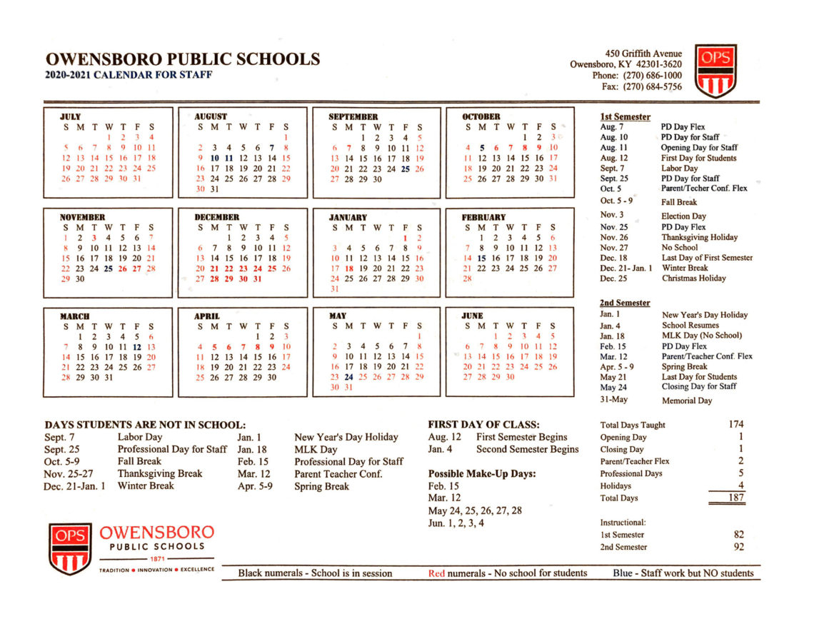 School Districts Approve 20-21 Calendars - The Owensboro Times pertaining to Nashville School Calendar 2022