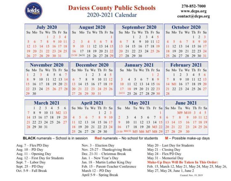 School Districts Approve 20-21 Calendars - The Owensboro Times throughout Nashville School Calendar 2022
