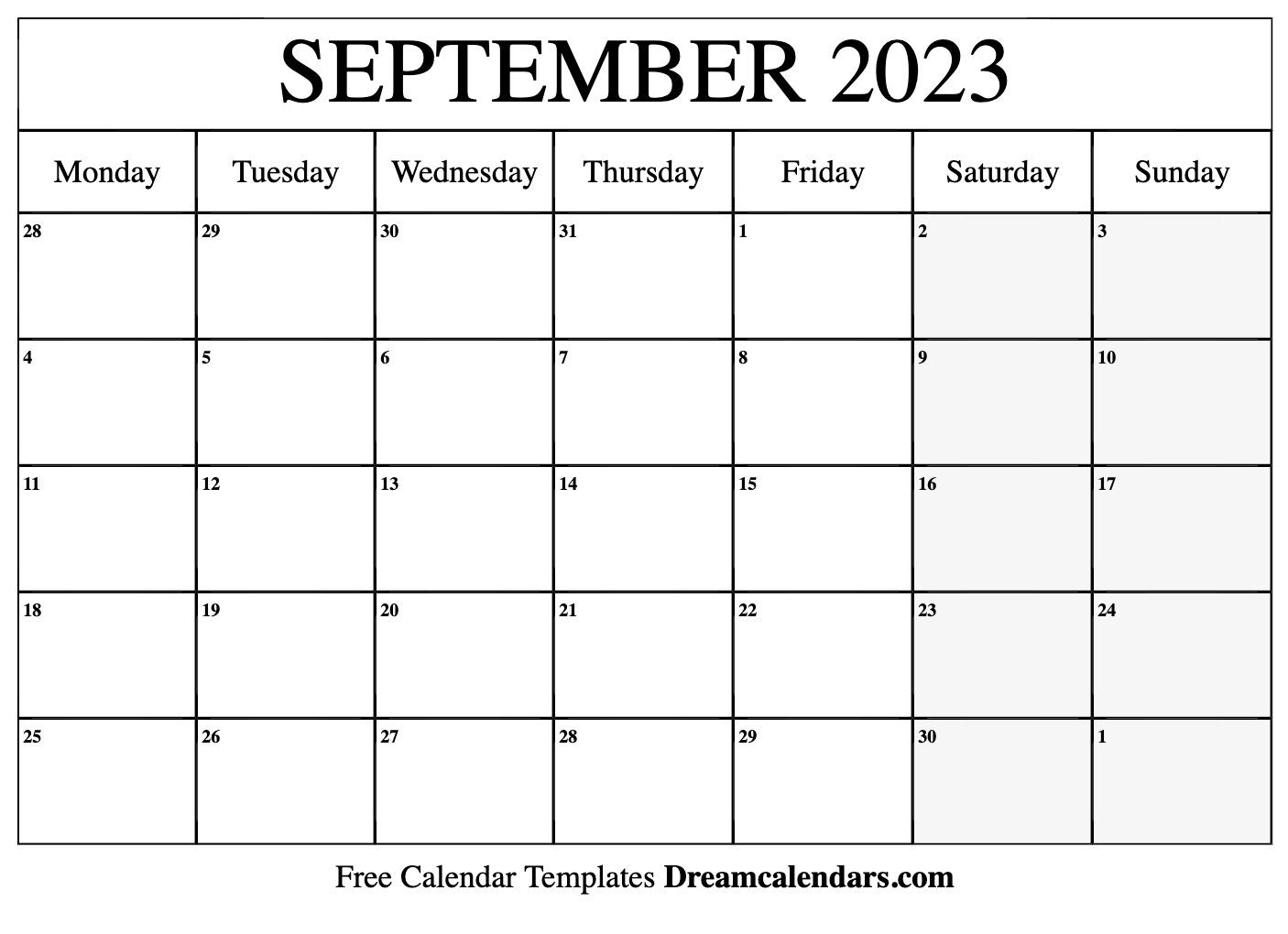September 2023 Calendar | Free Blank Printable Templates throughout Sunset And Sunrise Calender 2022 2023