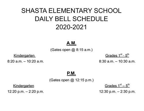 Shasta Elementary School - Daily Bell Schedule in Shasta County Court Calendar