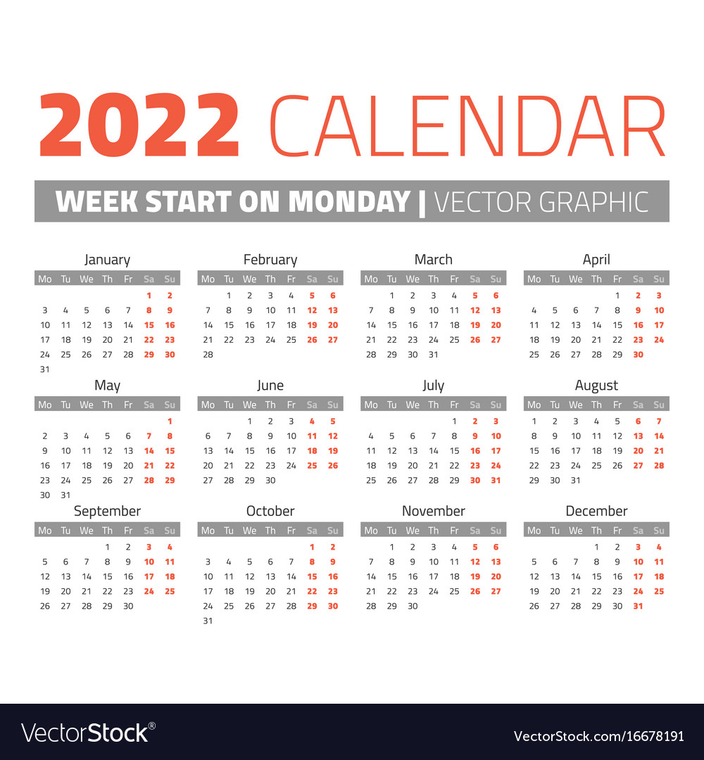 Simple 2022 Year Calendar Royalty Free Vector Image intended for Julian Date The Years Only 2022