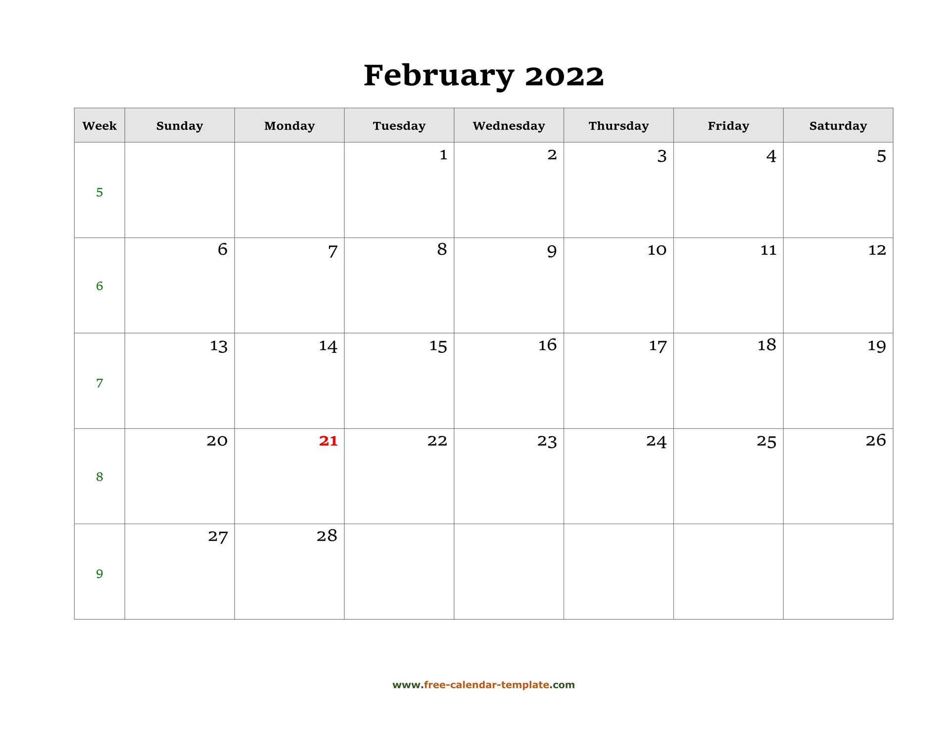 Simple February Calendar 2022 Large Box On Each Day For with regard to 2022 Day To Day Calendars For Men