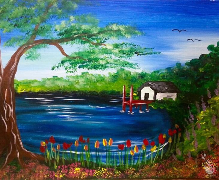 Spring At The Lake - Thursday, April 14, 2016 - Painting with Painting With A Twist Calnder