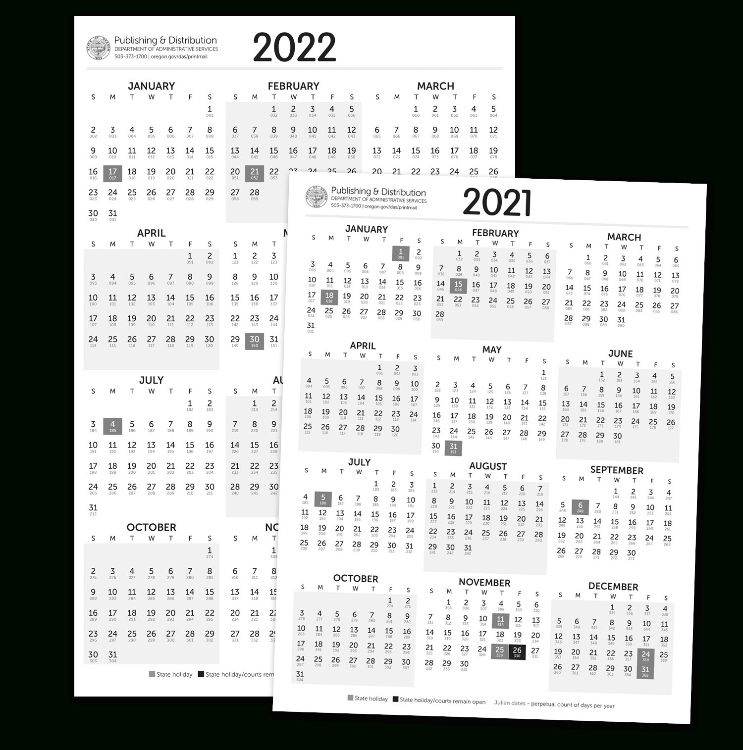 State Of Oregon: Printing, Mailing And Distribution with Julian Calendar 2022 Printable