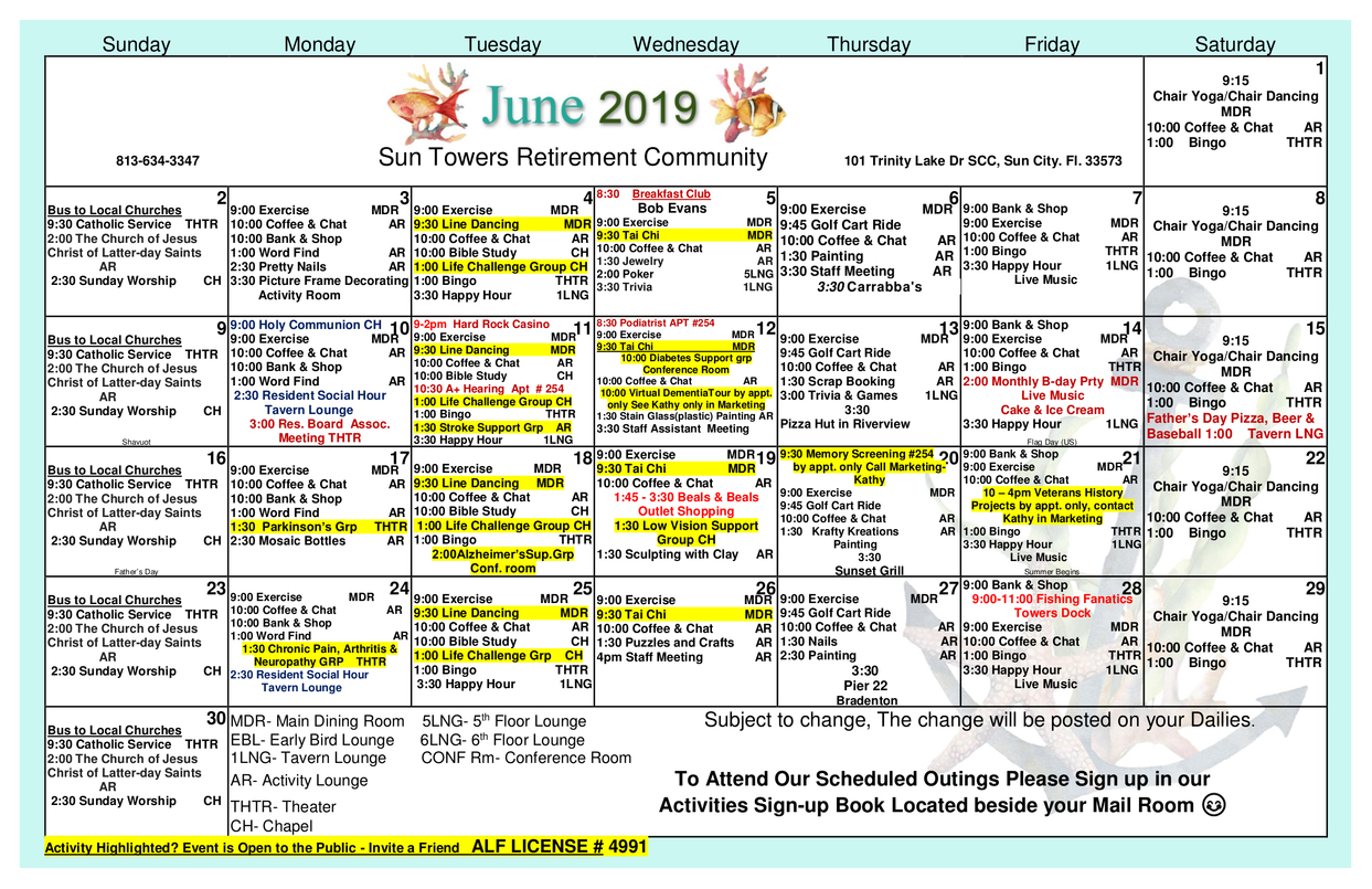 Sun Towers | Assisted Living, Nursing Home, Independent regarding Assisted Living Facility Activity Calendar