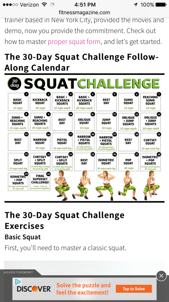 The 30-Day Squat Challenge Follow-Along Calendar within 30 Day Squat Challenge Calendar