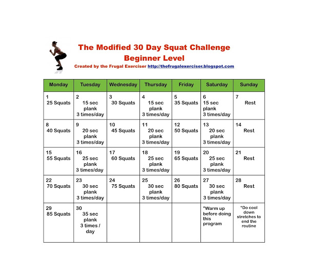 The-Modified-30-Day-Squat-Challenge intended for 30 Day Squat Challenge Calendar
