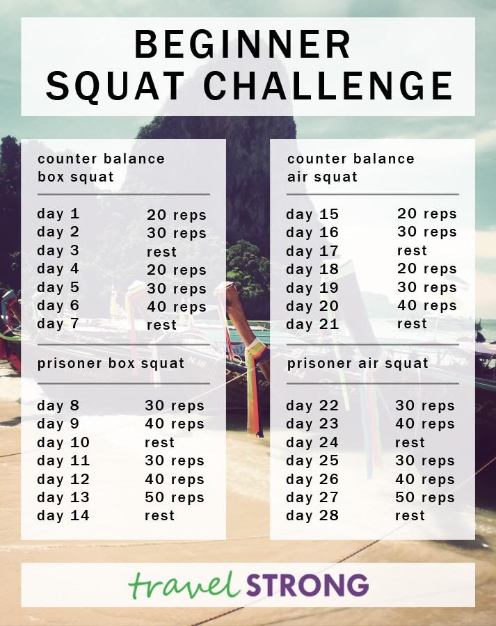 The Squat Challenge - Pb + P Design with regard to 30 Day Leg Challenge Printable Pdf