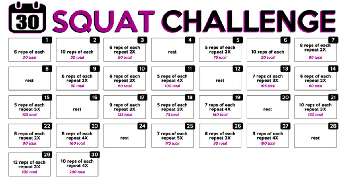 This 30 Day Squat Challenge Will Get Your Butt In Shape with 30 Day Leg Challenge Printable Pdf