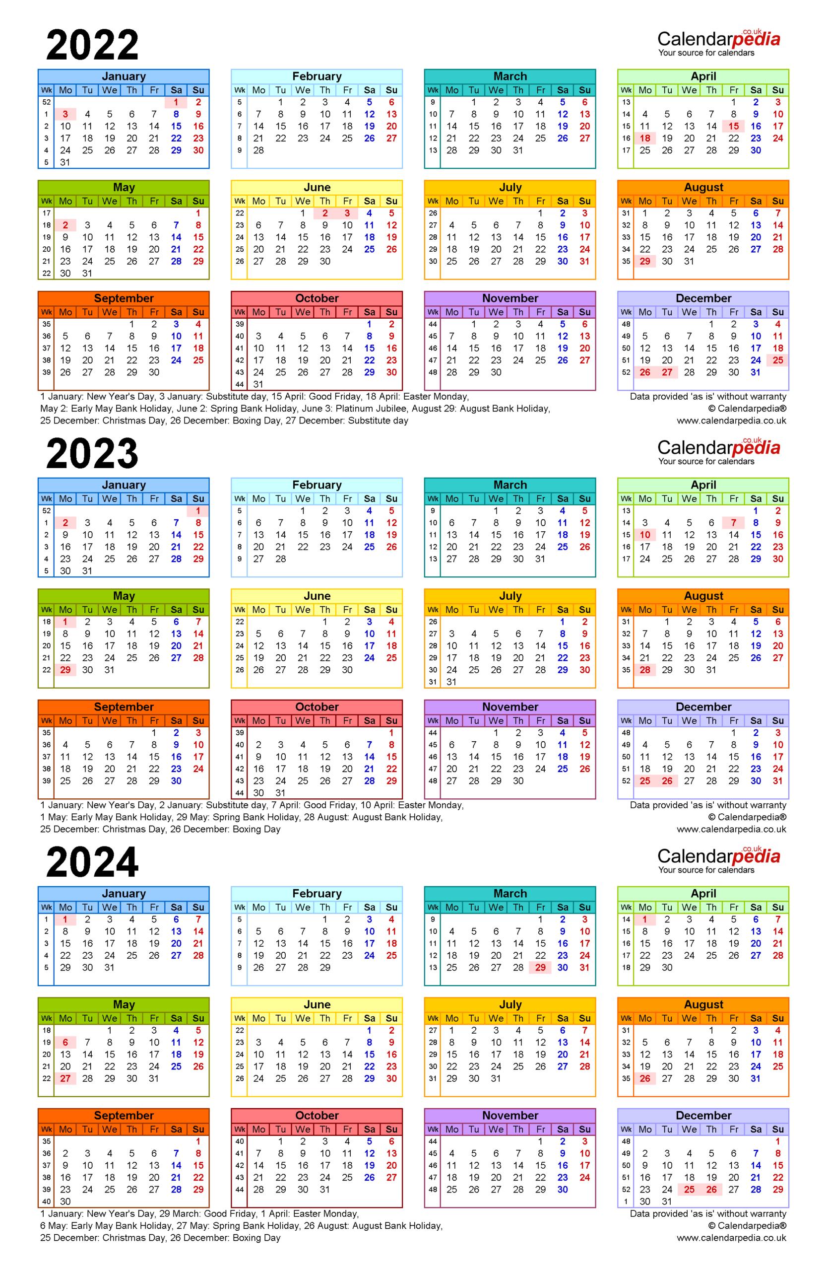 Three Year Calendars For 2022, 2023 & 2024 (Uk) For Pdf with regard to 2022 2023 School Calendar North Penn
