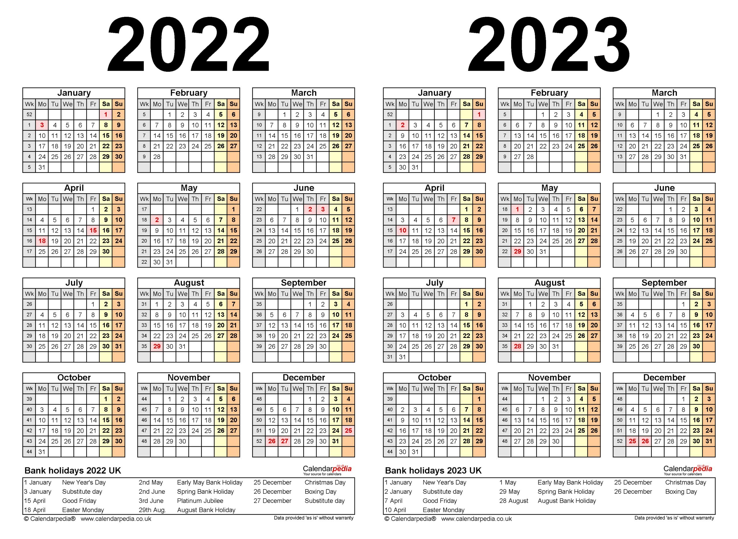 Two Year Calendars For 2022 & 2023 (Uk) For Excel regarding Alternate Side 2022 Calendar
