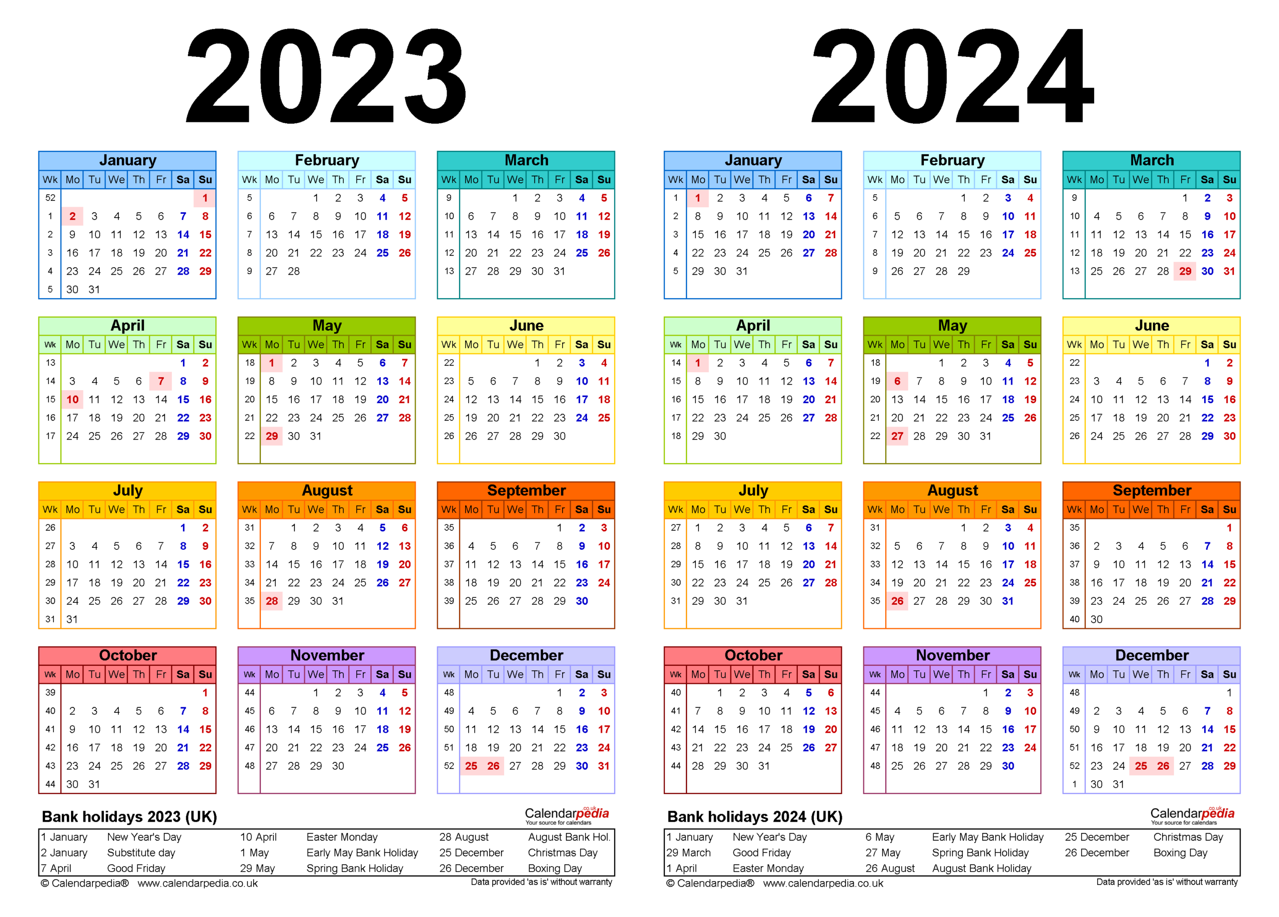 Two Year Calendars For 2023 & 2024 (Uk) For Pdf within Alternate Side 2022 Calendar