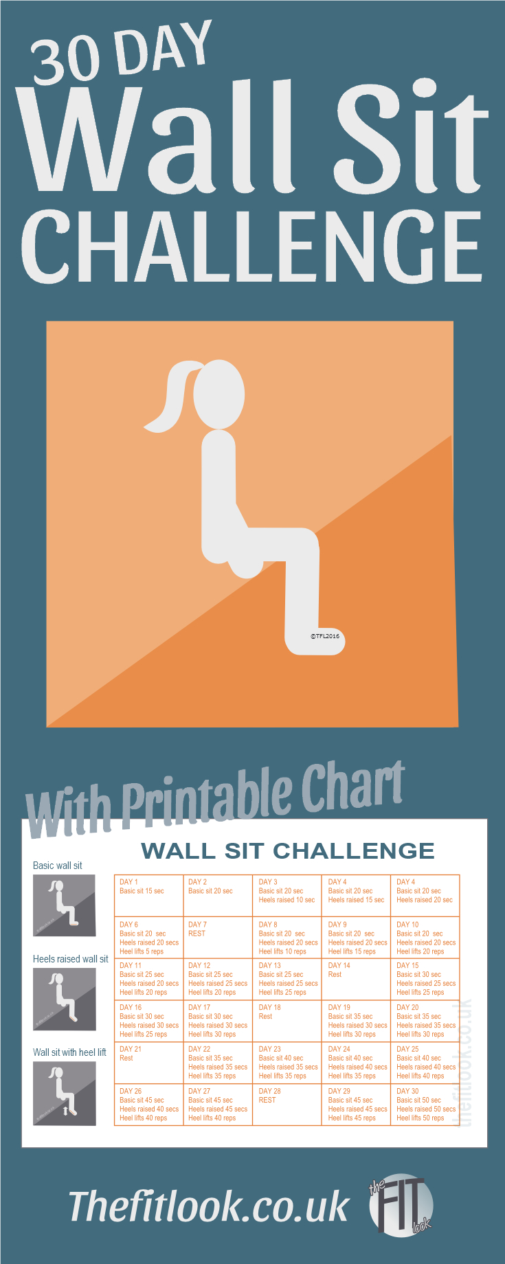Wall Sit Challenge - Do This Every Day For Improved Leg throughout 30 Day Leg Challenge Printable Pdf