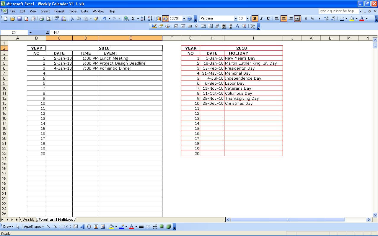Weekly Calendar With Holidays » Exceltemplate within Turn Excel Spreadsheet Into Calendar